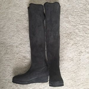 MICHELE NEGRI Handmade Suede Wedge Boots Size 9